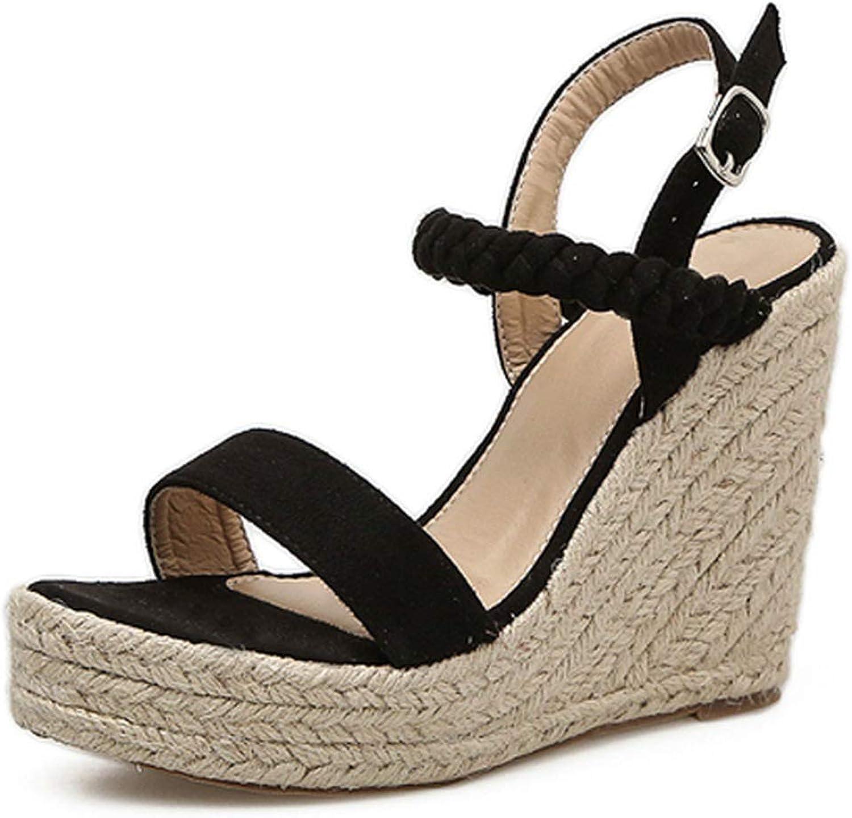 RAINIE002 Buckle Strapwomen Sandals Handmade Summer Casual Buckle shoes2019 Wedges High Heels Concise Ladies Sandals