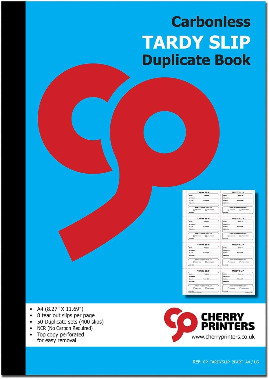 Cherry Easy Removal Tardy Slip Book with Carbonless Copies / 400 (3.89 x 2.92 Inches) Slips Per Book
