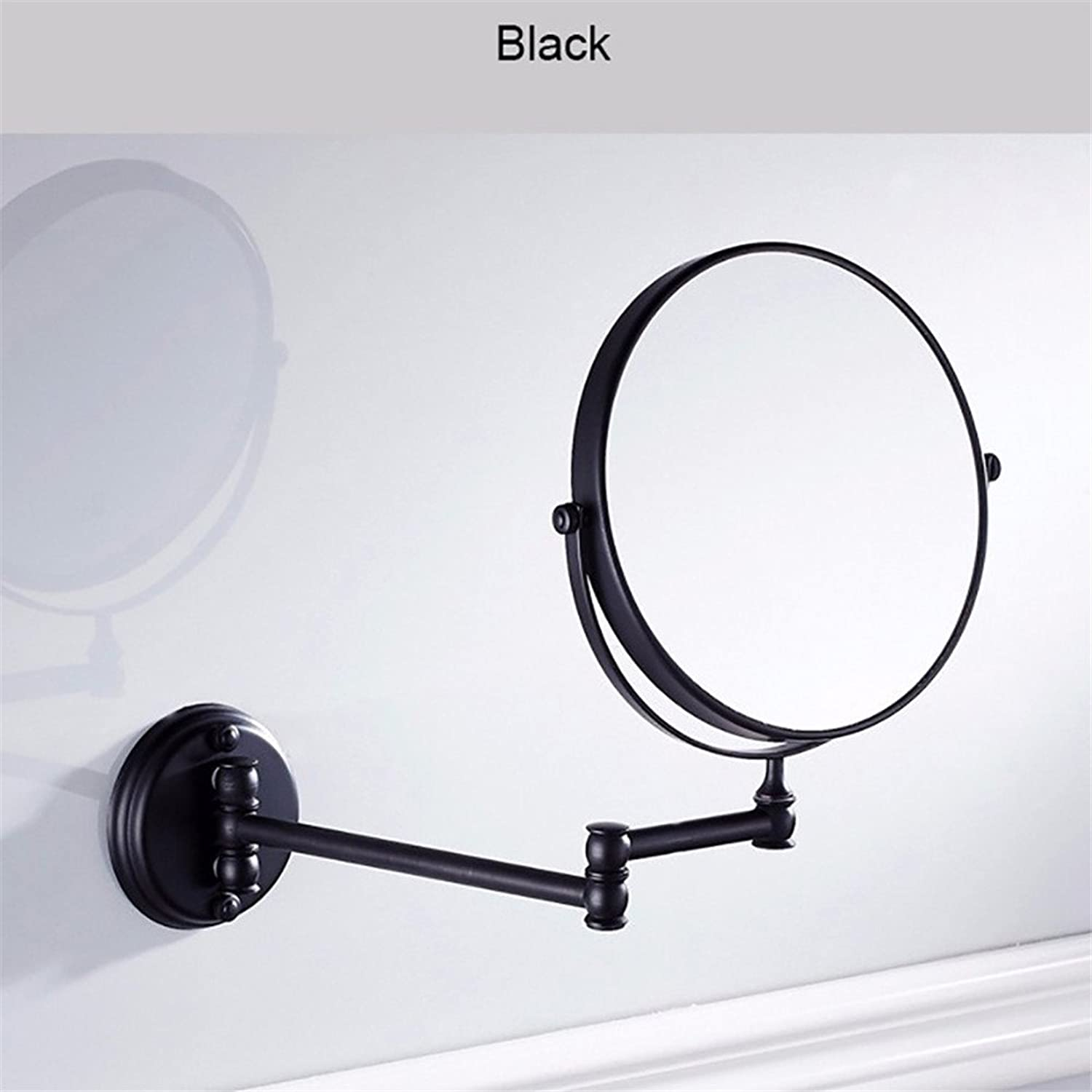8 Inch Bathroom Mirror Dual Arm Extend 2 Face Round Copper Framed Make Up Mirror Chrome Wall Mounted 1X3X3 Magnifying ,Black