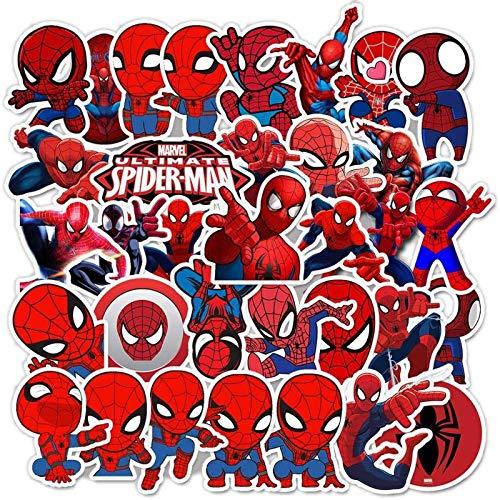 QIERK Amor Spiderman Sticker Dibujos Animados Disney Word Dentedered Union Sticker Skateboard Guitar Cuaderno Cuaderno Equipaje Pegatina Etiqueta Juguetes 35pcs