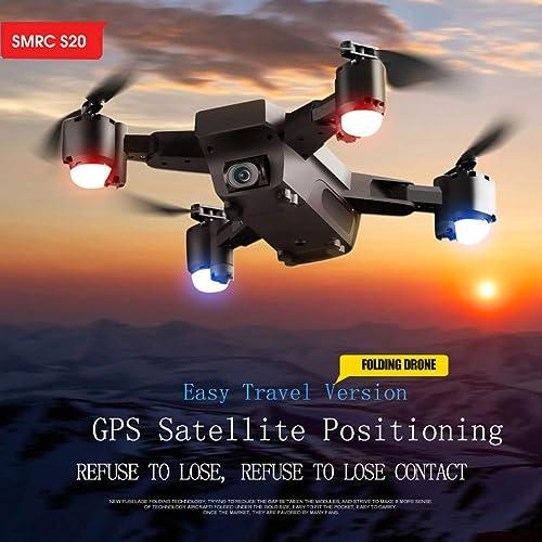 jieGREAT R ungsverkauf  , SMRC S20 1080P 120 ° Weißinkel WiFi FPV 2.4G GPS RC Spielzeug Quadcopter Faltbare Drohne