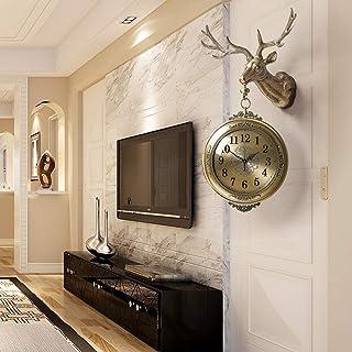 Reloj De Pared De Números De doble cara reloj de pared creativo principal de los ciervos de la decoración del hogar del re...