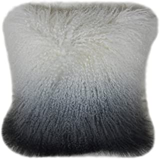 Lichao Ombre Mongolian Lamb Fur Pillow Cover Luxurious Sheep Skin Cushion Cover Soft Plush Curly Pillow Case Home Decorative Square Wool Throw Pillow cover 16X16 Inch Bedroom Pillow Protector (Grey)