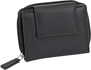 XXL Leather Boxed Style RFID Wallet with Large Coin Compartment Against Data Theft Leas Men Black