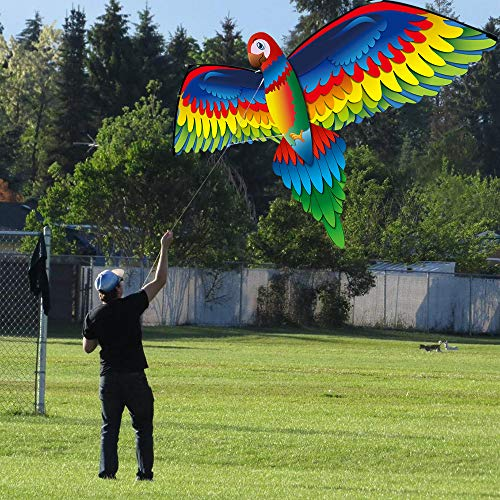 VWsiouev 2020 New Children's Kite 3D Parrot Kite Single Line with Tail,Upgrade Classical Parrot Kite-Easy to Fly,for Children Outdoor Sports Toy,Activities,Beach Trip