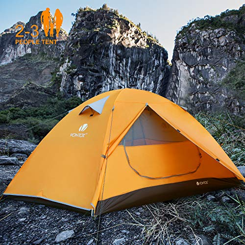 V VONTOX Camping Tent 2-3 Person Lightweight Backpacking Tent Waterproof Two Doors Easy Setup Tent, for Family in Traveling, Beach, Camping and Outdoor Tent