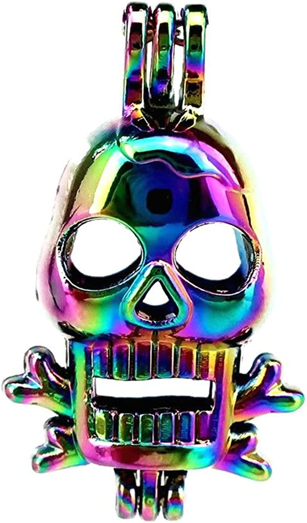 10 Pack Rainbow safety Sales of SALE items from new works Color Skull Pearl Pendant Beads Cage Ch Locket