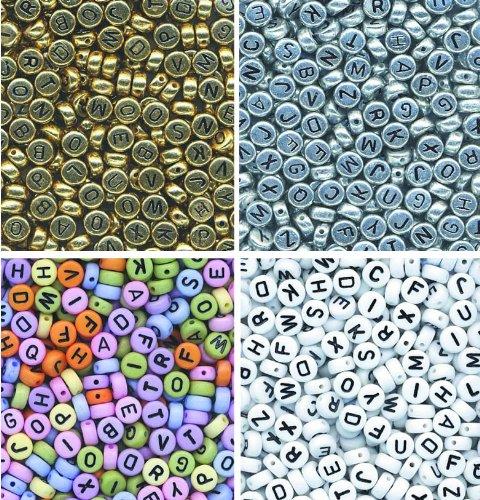 Creativity Papers Lot de 1600 perles avec lettres 400 multicolores 400 blanches 400 argentées et 400 dorées