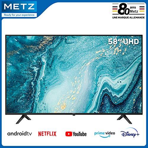 Televisión 58 Pulgadas Smart TV METZ 58MUB6010 Android TV 9,0 UHD Google Asistente, Pantalla Grande Control Remoto