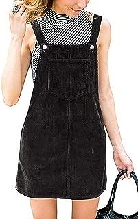 Womens Cute Corduroy Suspender Skirt Mini Bib Overall Pinafore Dress with Pockets