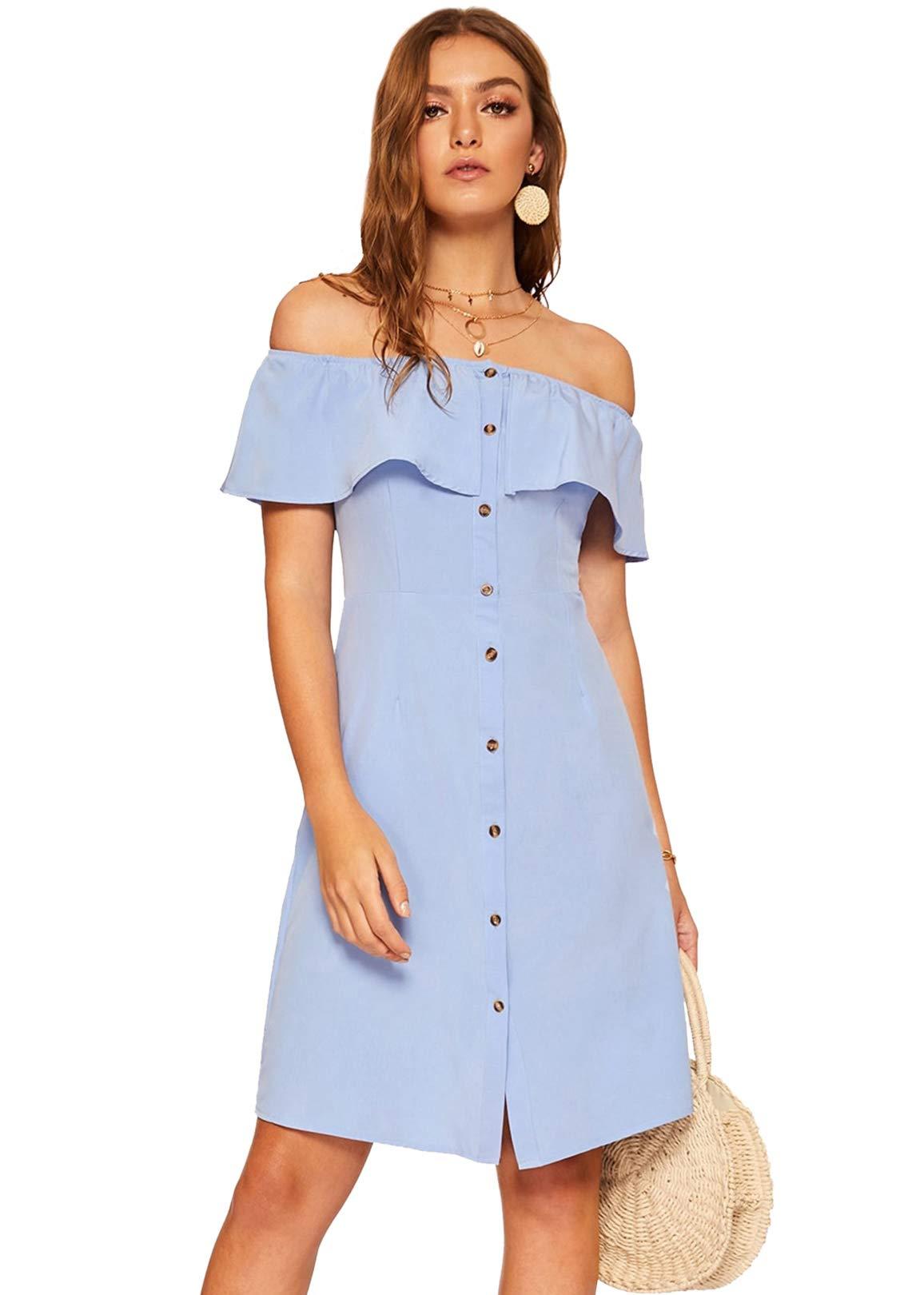 Available at Amazon: Milumia Women's Off The Shoulder Button Up Summer Flounce Trim Denim Dress