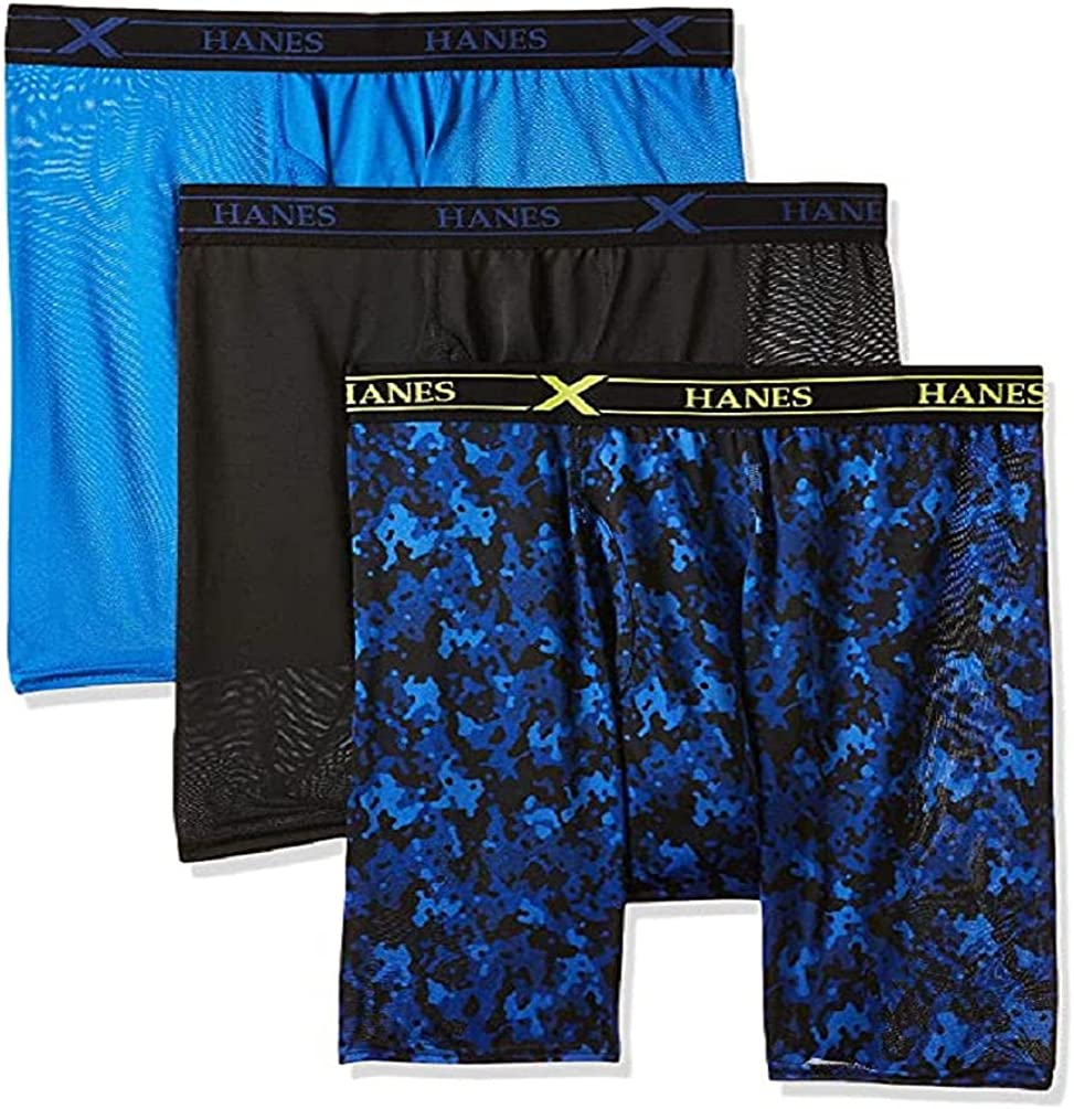 Hanes Ultimate Men's 3-Pack X-Temp Performance Boxer Briefs, Assorted, 6X-Large