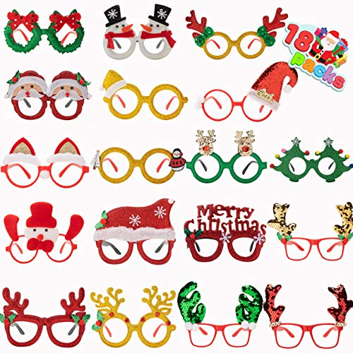 Pack of 18 Christmas Glasses Frame Costume Eyeglasses for Christmas Party Supplies and Party Favors, Assorted Styles (One Size Fits All)