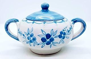 Zuccheriera Linea Azzurra Realizzata e Dipinta a mano Le Ceramiche del Castello Made in Italy 16 x 9 cm