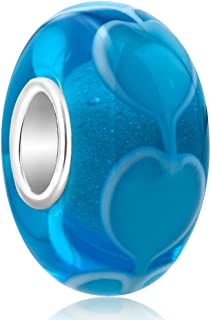 ReisJewelry Heart Lampwork Murano Glass Beads Spacer Charm with 925 Sterling Silver Core for Bracelets