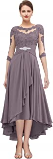 Vania Dress Womens Chiffon Applique Tea Length Mother of The Bride Dress with Sleeves V435DS