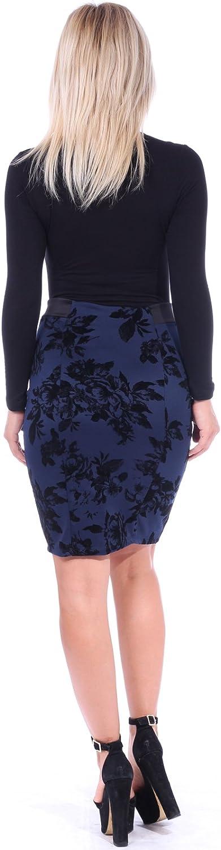 Popana Women's Stretch Pencil Skirt Knee Length High Waist for Work Made in USA
