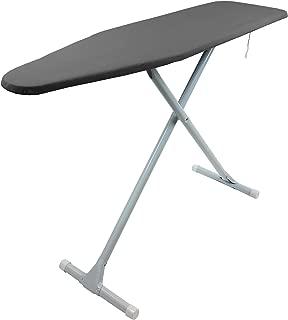 Homz T-Leg Steel Top Ironing Board with Foam Pad, Grey Pattern Cover