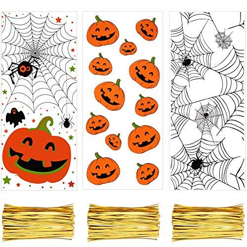 150 Piezas Bolsas de Celofán Transparente de Halloweenbolsas de Golosinas de Halloween Bolsas de Celofán de Plástico con Lazos Retorcidos de 150 Piezas para la Fiesta de Halloween