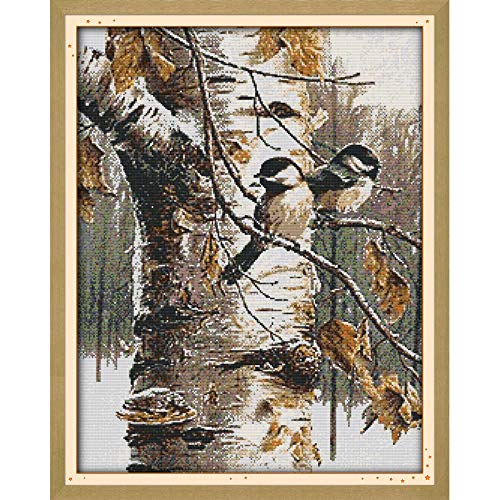 Joyautum Kreuzstich-Set, Motiv Herbstvögel, Kreuzstich-Set, 11 Karat, 14 Karat, Kreuzstich-Set, Stickerei, Landschaft, neu 14ct Blank Fabric