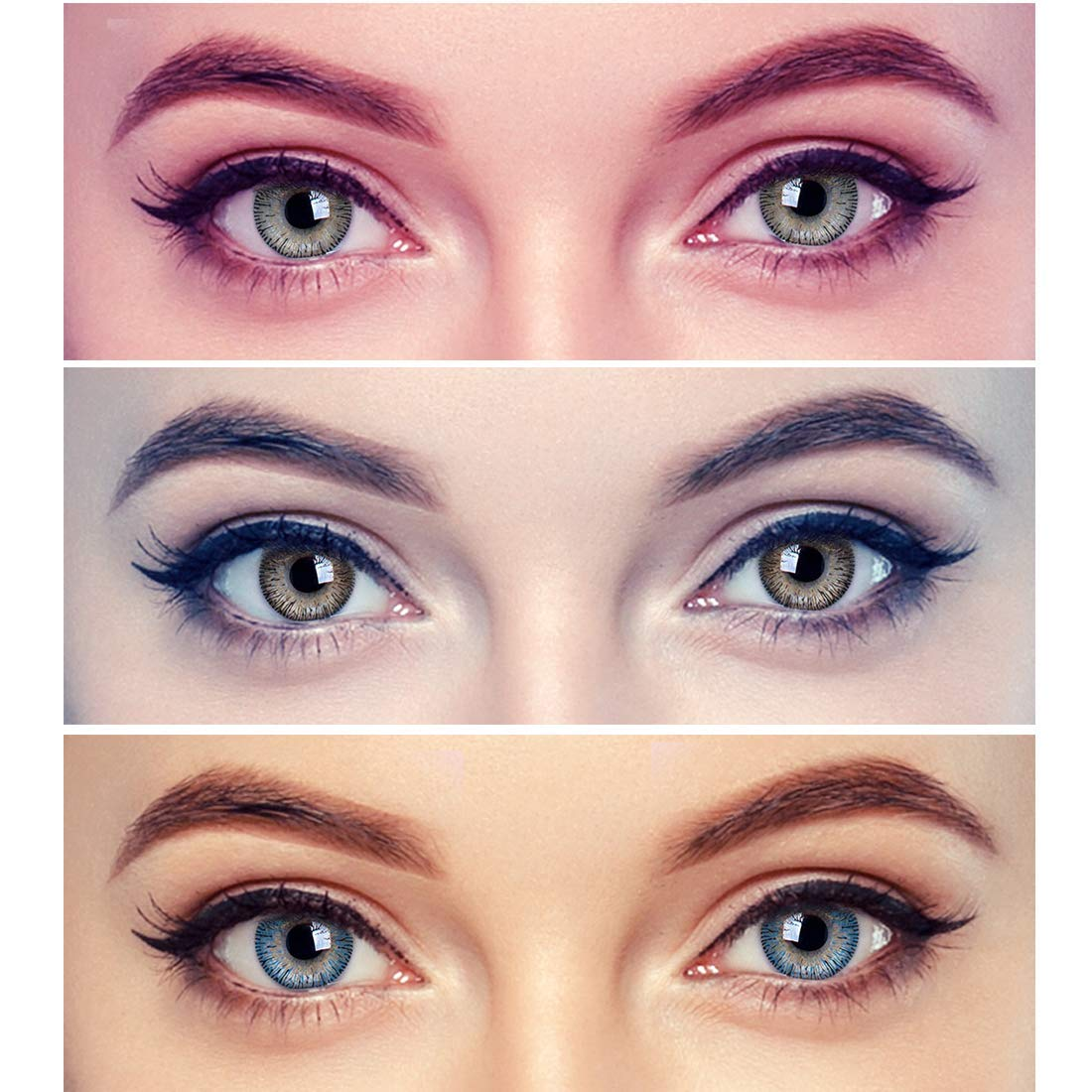 Gold Look Combo Pack of 20 Blue,Brown&Grey Monthly Color Contact Lenses  Zero Power with Free Lens Solution & 20 Lens Case/Container Kit