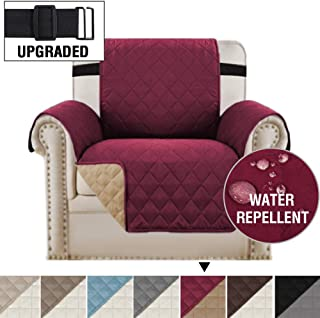 H.VERSAILTEX Reversible Chair Cover for Dogs Pet Sofa Protector Chair Slipcover 2 Thick Straps Slip-Resistant Chair Protector Soft Quilted Cotton Alike Seat Width Up to 21 (Chair, Burgundy/Tan)