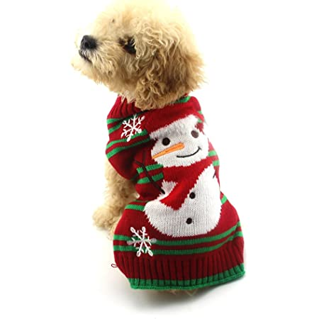 NACOCO Dog Snow Sweaters Snowman Sweaters Xmas Dog Holiday Sweaters New Year Christmas Sweater Pet Clothes for Small Dog and Cat (Snowman,L)