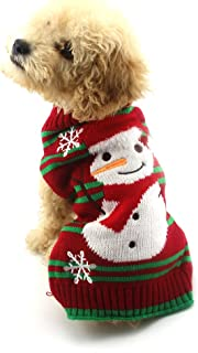 Cuteboom Dog Snow Sweaters Snowman Sweaters Xmas Dog Holiday Jumper New Year Christmas Sweater Pet Clothes for Small Dog and Cat