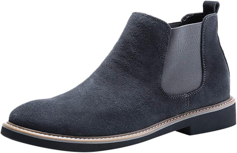 Fashion Men's Retro Flat Low-Heeled Tooling shoes Round Head Non-Slip Short Boot RedBrowm