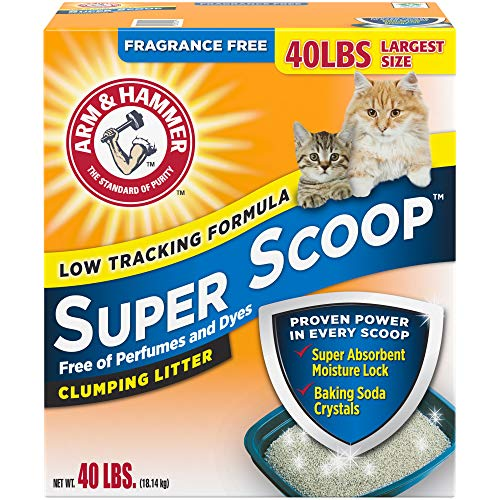 Arm & Hammer Super Scoop Clumping Cat Litter, Fragrance Free 40lb