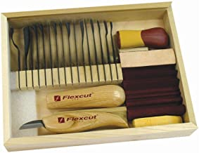 Flexcut SK108 Deluxe Starter Carving Set with 16 Carving Blades, Cutting Knife, Two Quick Connect Handles, and DVD