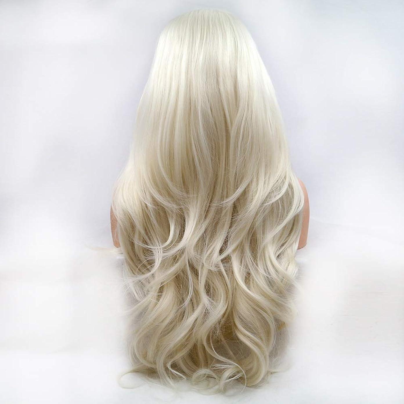 あらゆる種類の擬人望むZXF ベージュの長い髪の巻き毛のかつらレディース手作りのレースのヨーロッパとアメリカのかつらセットかつら 美しい