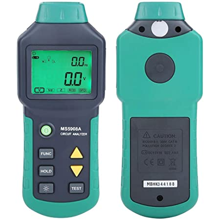 Circuit Analyzer, AC100-240V RMS Circuit Analyzer Tester MASTECH MS5908A/MS5908C LCD LCD Circuit Analyzer, Voltage GFCI RCD Fault Tester (US Plug)