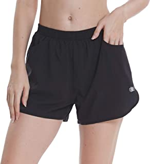 LAZALAM Women's 3 Inches Workout Running Shorts Elastic Waist Active Gym Athletic Shorts with Pockets