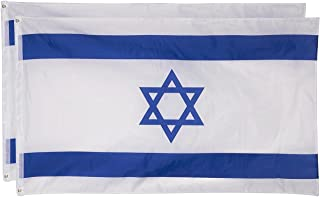 Israel Flags - Pack of 2 Israeli Flags - Perfect for Jewish Events - 3 x 5 Foot Flags with Grommets