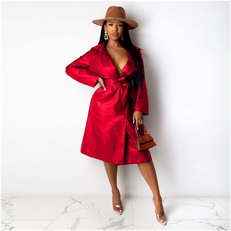 kengbi Jacket PU Faux Leather Jacket with Belt Winter Fashion Windbreaker Long Trench Coat Women Plus Size Outerwear (Color : Red, Size : S)