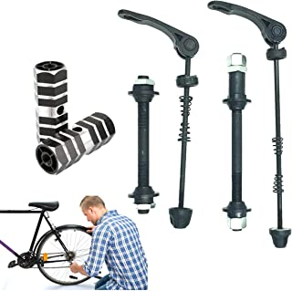 MTB Quick Release Spiedini Lega di Alluminio Ruota Anteriore Mozzo E Spiedini Posteriore per MTB Strada della Montagna della Bici della Bicicletta Nero asdfwe Bicicletta di Sblocco Rapido