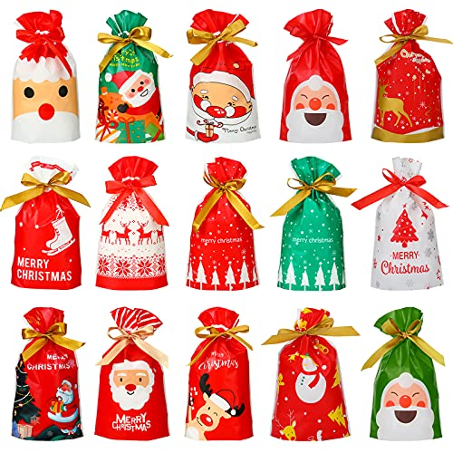 60 Pieces Christmas Candy Plastic Drawstring Bags Merry Christmas Treat Bags Cookies Bags for Christmas Party Birthday Party Snack Wrapping Wedding Present Party Favor, 15 Styles