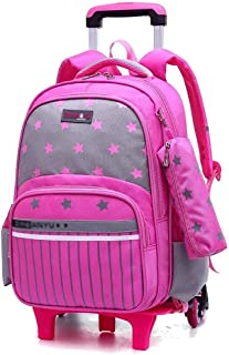 GaoMiTA Primary School Trolley Bag Childrens 2 Round Climbing Stairs towbar Bag 17 inch Double Shoulder Bag Color : Pink