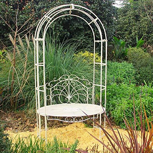 Metal Garden Arch with Seating, 104cmx63cmx202cm, Durable Iron Garden Arbor for Climbing Plants, Wedding Decoration, Light Strip (White)