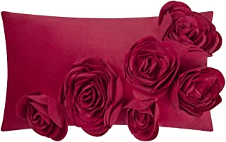 JWH 3D Handmade Accent Pillow Case Rose Flower Cushion Cover Super Soft Velvet Decorative Pillowcase Home Sofa Car Bed Living Room Office Chair Decor Shell Girl Gift 12 x 20 Inch Red