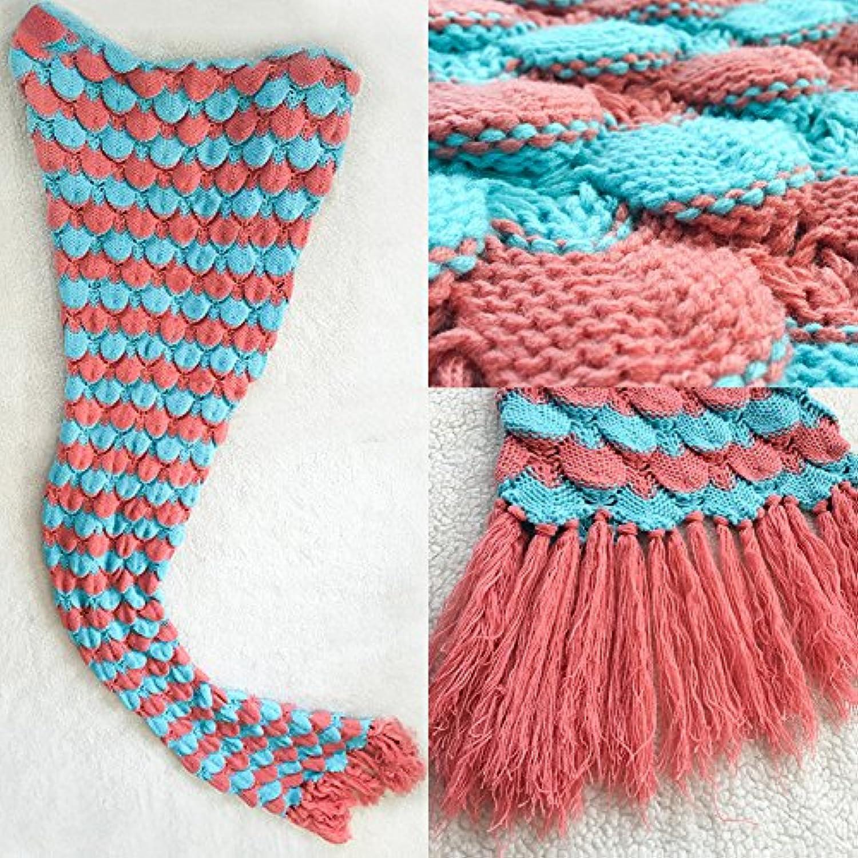 SWerthy Knitted blanket Mermaid blanket Sofa blanket blanket Mermaid Tail blanket, Purple, 180  80CM (71  31.5 inch)