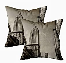 Fullentiart Fun Pillow Cases, Thanksgiving Day Gift Skyline of New York from Street Level Cushion Soft Skin-Friendly Fade Wrinkle Resistant and Easy to Wash 18X18Inches 2Pcs