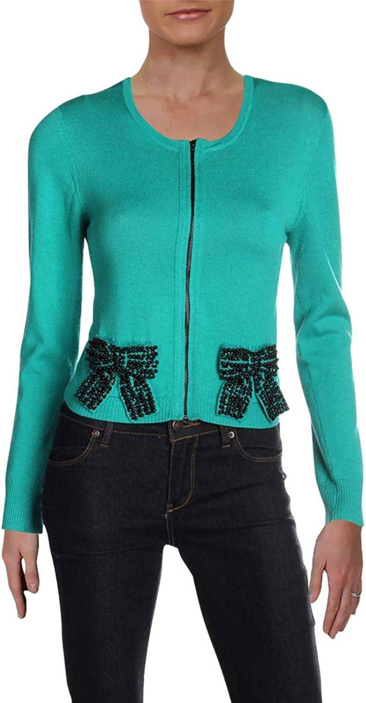 Nanette Lepore Womens Carnival Merino Wool Embellished Crop Sweater