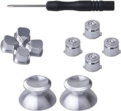 YoRHa 8 en 1 Metal aluminio Thumbsticks Analog Sticks Joysticks & Botón & D-pad Reparación de repuesto Kits(plata) para PS4/Slim/Pro Mando con Destornilladores