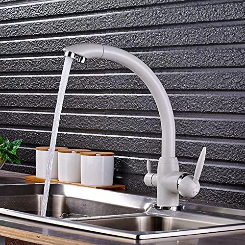 Cubierta montada 360 Rotación Grifos de Cocina Purificación de Agua Blanca Purificación Doble Manija