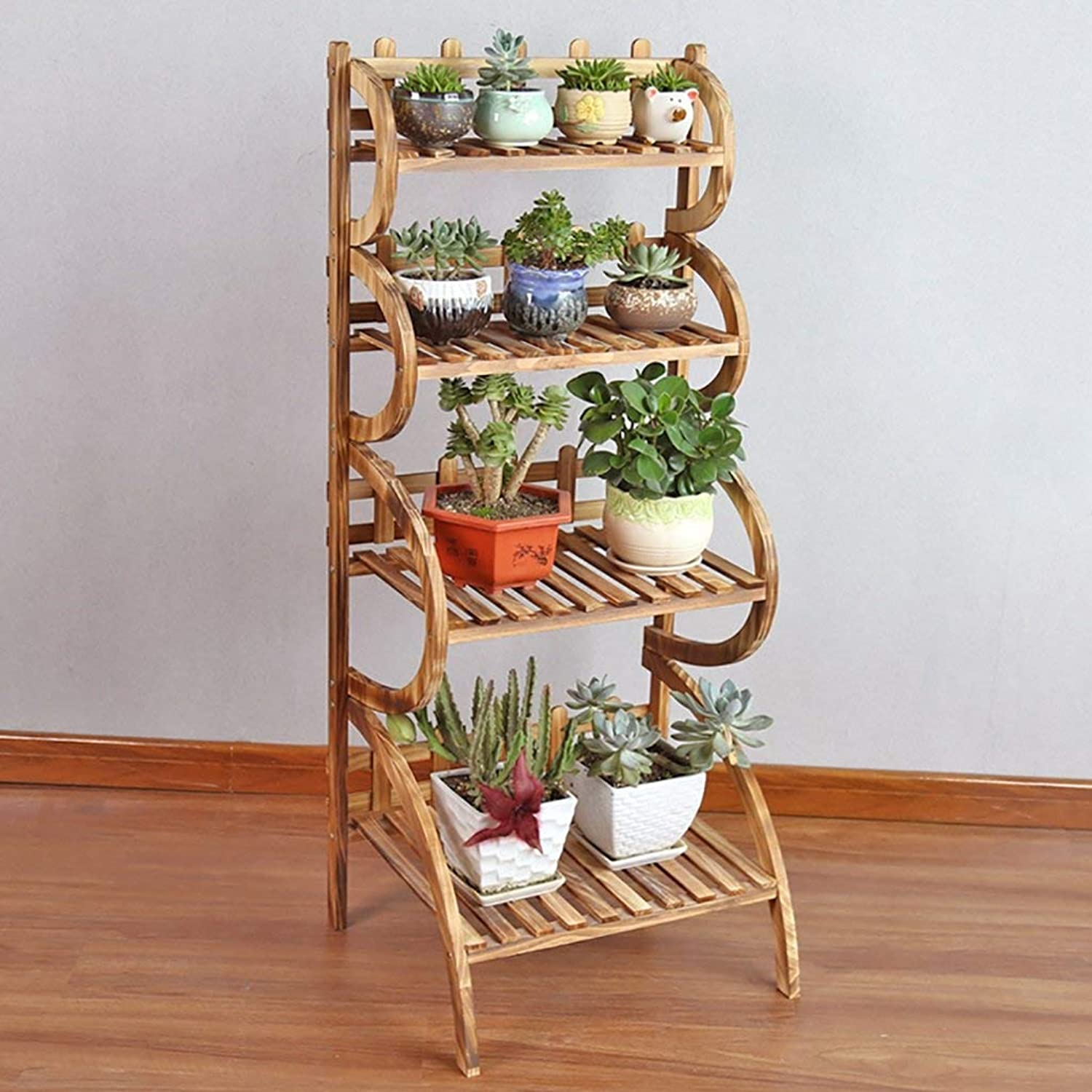 Shiyanghang Outdoor Indoor Display Plant Stand Simple and Fashionable Wood Flower Shelf, Garden Courtyard Balcony Living Room Plant Frame, Flower Plant Storage Rack (color   B, Size   50cm)