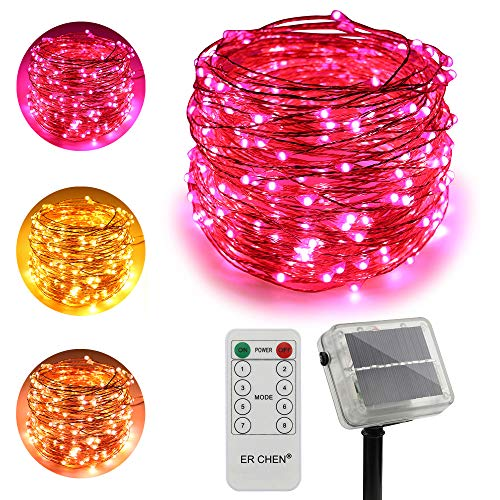 ErChen Dual-Color Solar Powered LED String Lights, 100FT 300 LEDs Remote Control Color Changing 8 Modes Copper Wire Decorative Fairy Lights for Outdoor Garden Patio (Warm White, Pink)