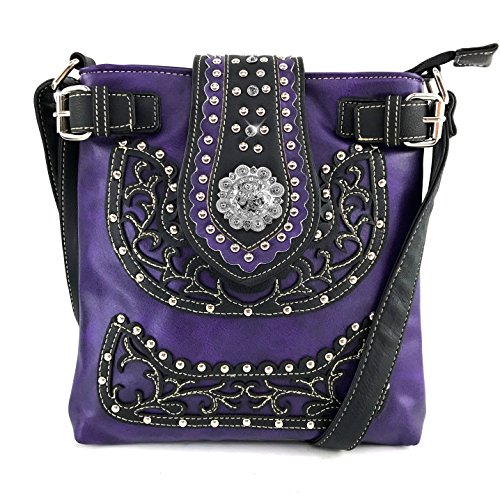 Justin West Concealed Carry Laser Cut Leather Floral Embroidery Rhinestone Berry Concho Studded Shoulder | Tote | Handbag Purse | Messenger Crossbody | Trifold Wallet (Purple Messenger ONLY)