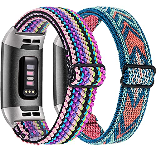 [2 Pack] Osber Elastic Bands Compatible for Fitbit Charge 4/Charge 3/Charge 3 SE, Breathable Stretchy Replacement Wristbands for Women Men (Colorful Rope/Green Arrow)